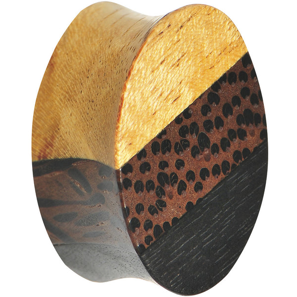 "5/8"" Organic Wood Triple Layer Double Flare Oval Plug"