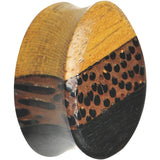 9/16 Organic Wood Triple Layer Double Flare Oval Plug