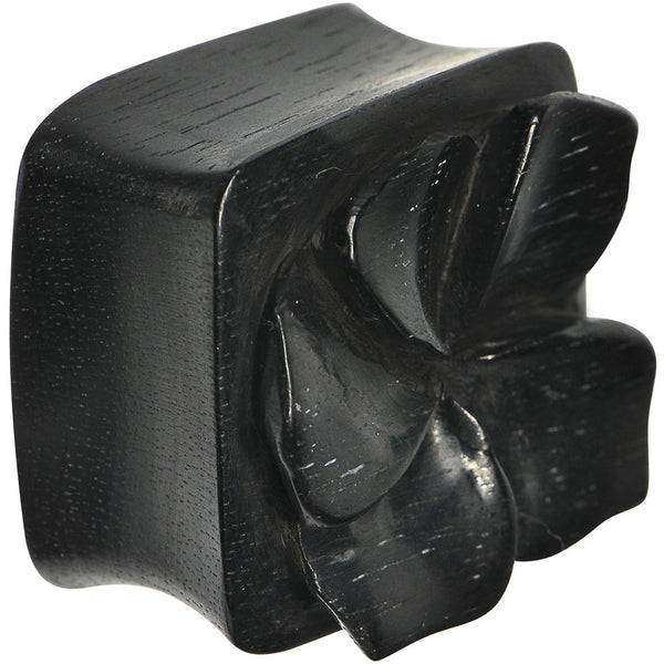 1 inch Hand Carved Organic Areng Ebony Wood Square Flower Plug