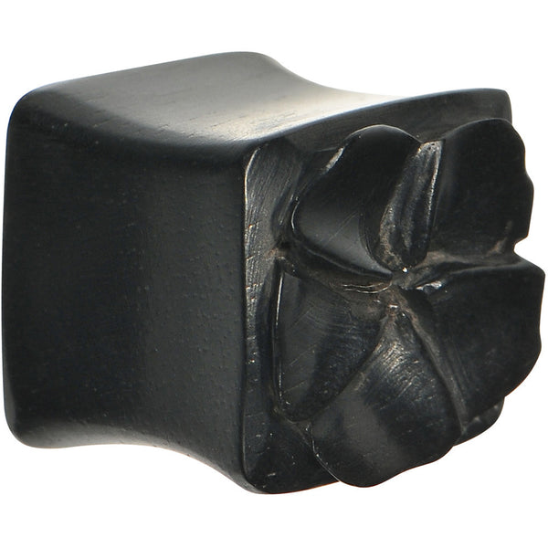 1/2 Hand Carved Organic Areng Ebony Wood Square Flower Plug