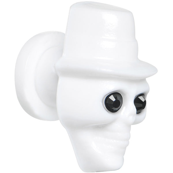0 Gauge Acrylic CZ Eye White Gambler Top Hat Skull Screw Fit Plug