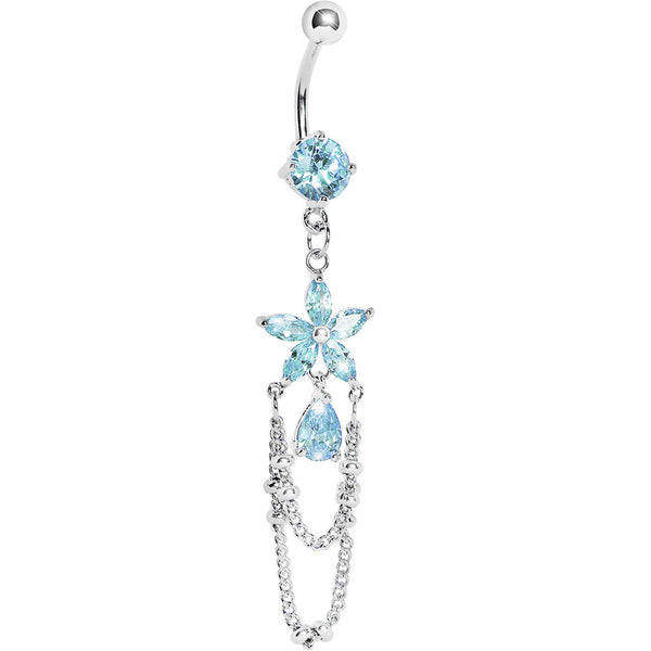 Aqua Gem Flower Tears Chain Dangle Belly Ring