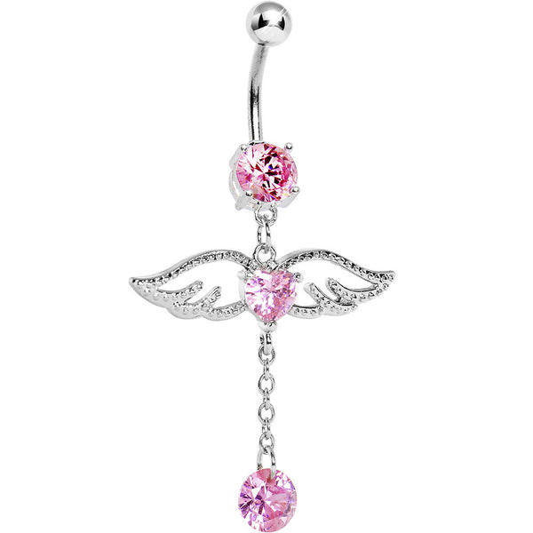 Pink Gem Winged Heart Drop Solitaire Belly Ring
