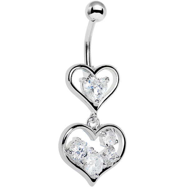 Crystalline Gem Two Hearts Full Belly Ring