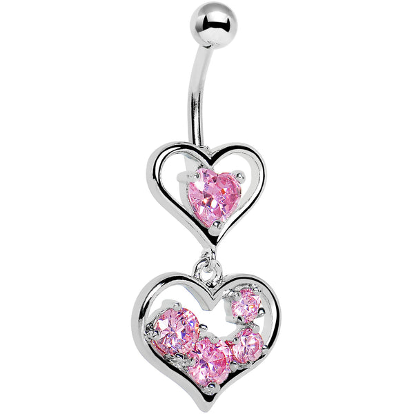 Pink Gem Two Hearts Full Belly Ring