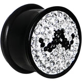 "5/8"" Black Acrylic Gem Paved Mustache Plug"
