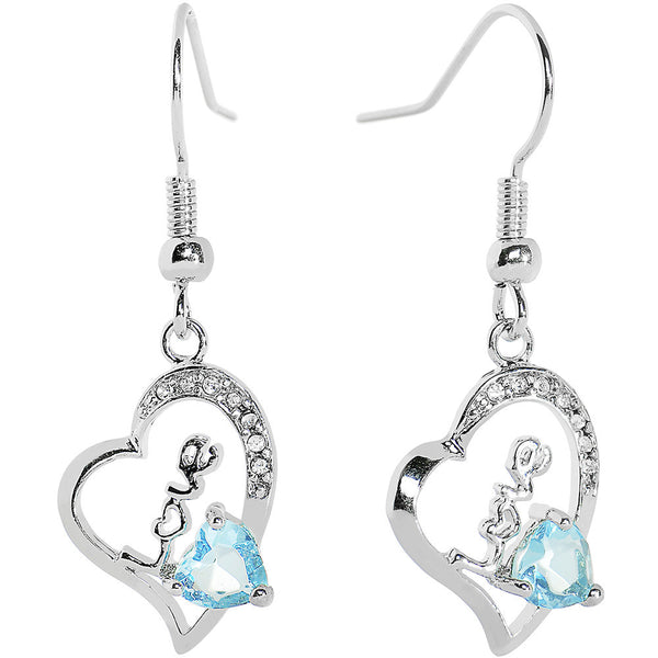 Aqua Gem Love Hollow Heart Dangle Earrings