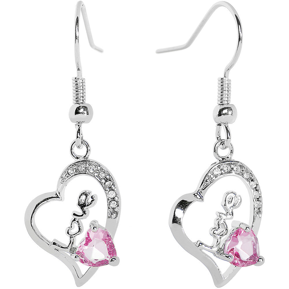 Pink Gem Love Hollow Heart Dangle Earrings