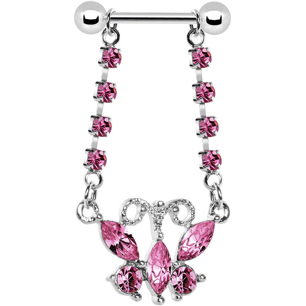 Pink Gem Dangle Butterfly Nipple Ring