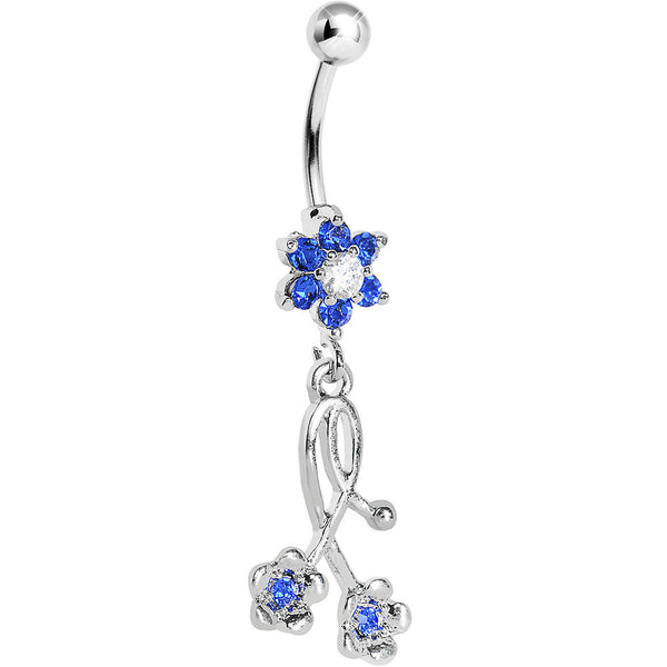 Sapphire Blue Gem Wildflower Dangle Belly Ring