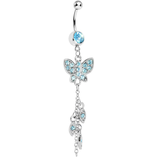 Aqua Gem Butterfly Lovely Leaves Belly Ring