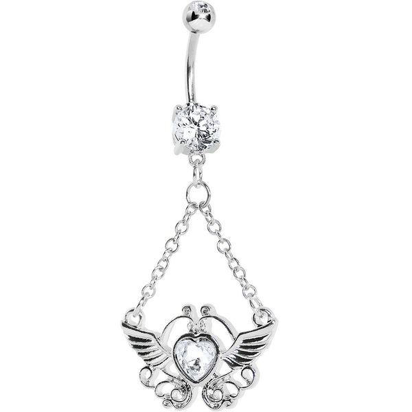 Crystalline Gem Girly Winged Heart Belly Ring