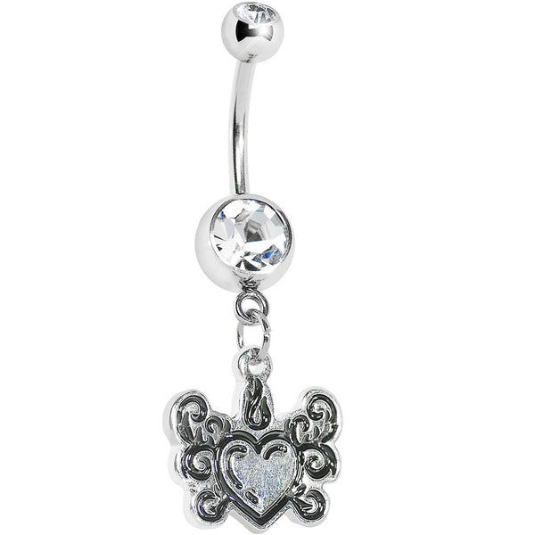Cool Clear Gem Tribal Flame Heart Belly Ring