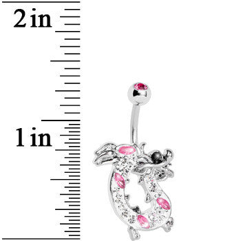 Pink Gem Lucky Chinese Dragon Belly Ring