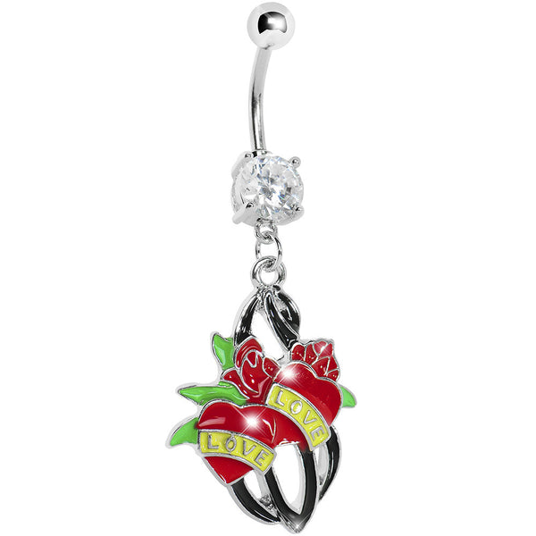 Crystalline Gem Love Red Rose Heart Belly Ring