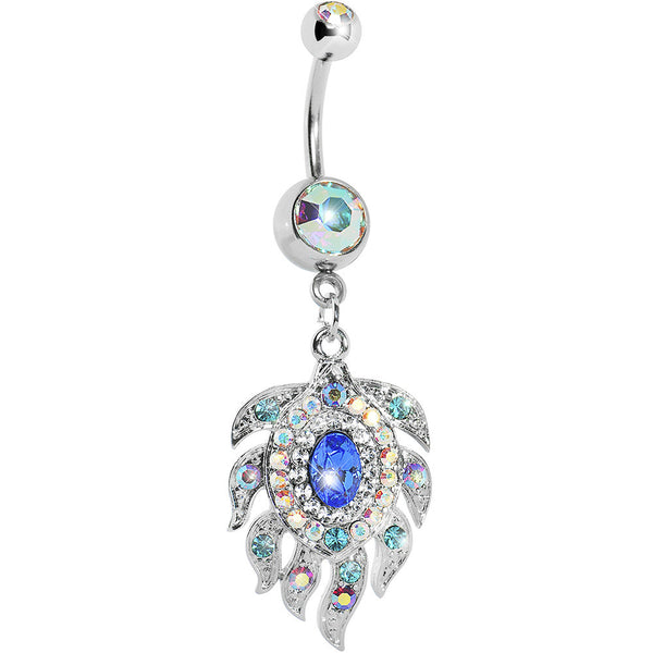 Aurora Double Gem Cubic Zirconia Peacock Feather Belly Ring