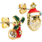 Gold Tone Gem Holiday Stocking Santa Claus Mixed Earring Set