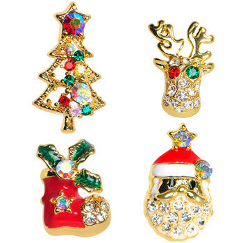 Gold Tone Gem Holiday Christmas Mixed Earring Set