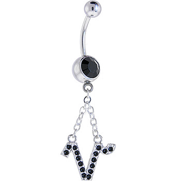 Midnight Gem CAPRICORN Zodiac Sign Dangle Belly Ring