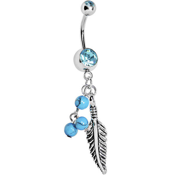 Aqua Gem Native Turquoise Feather Dangle Belly Ring