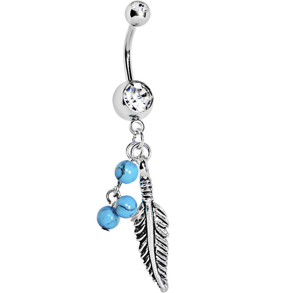 Crystalline Gem Native Turquoise Feather Dangle Belly Ring