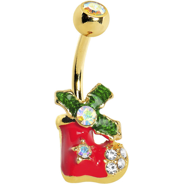 Gold Plated Holiday Stocking Belly Ring