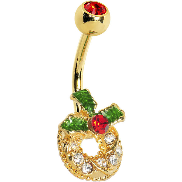 Gold Plated Gem Paved Holiday Wreath Belly Ring