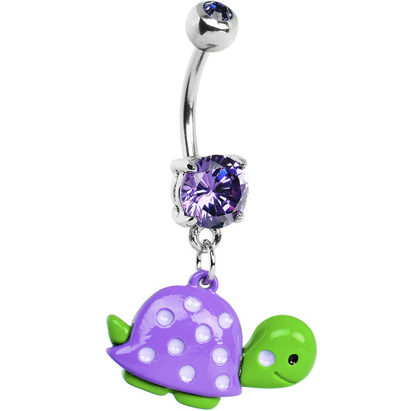 Purple Gem Polka Dot Shell Turtle Belly Ring