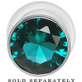 00 Gauge Blue Zircon Stainless Steel Pressed Fit Gem Tunnel
