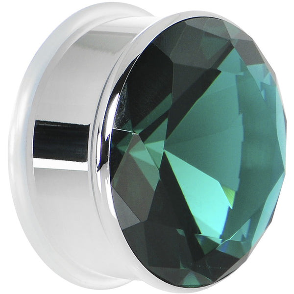 1 inch Blue Zircon Stainless Steel Pressed Fit Gem Tunnel