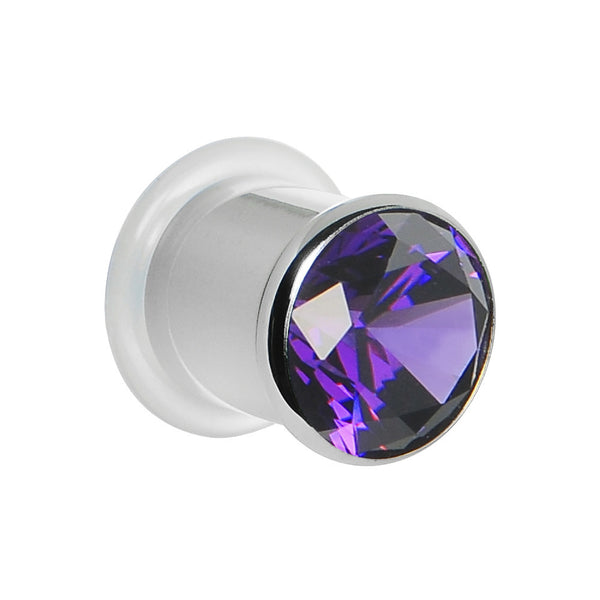 00 Gauge Tanzanite Purple Stainless Steel Pressed Fit Gem Tunnel
