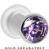 2 Gauge Tanzanite Purple Stainless Steel Pressed Fit Gem Tunnel