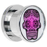 1/2 Stainless Steel Sugar Skull Light Up Plug