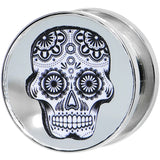 "5/8"" Stainless Steel Sugar Skull Light Up Plug"