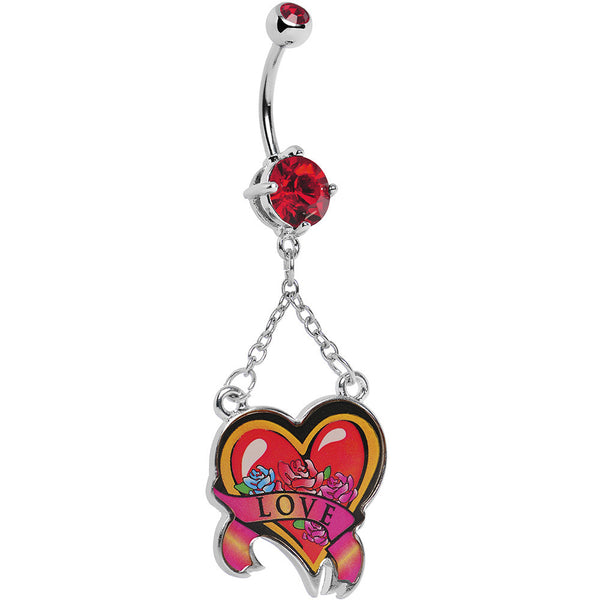 Ruby Red Double Gem Love Heart Belly Ring