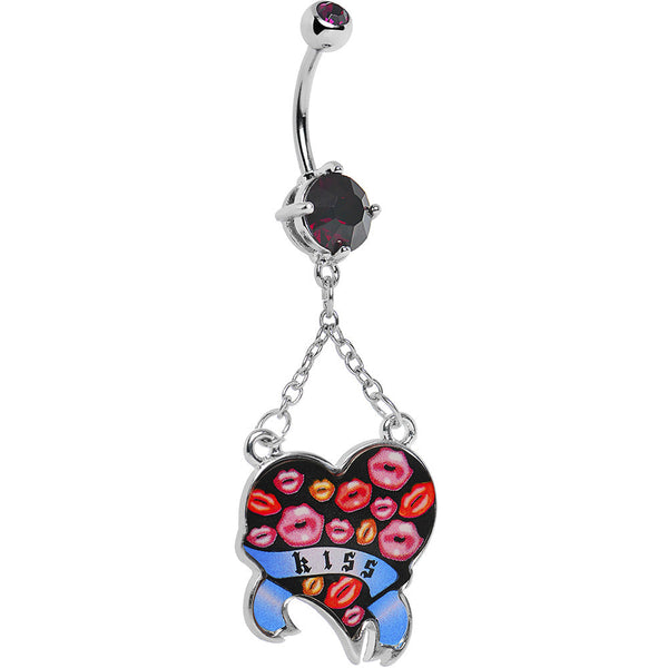 Double Gem Smooch Kisses Heart Belly Ring