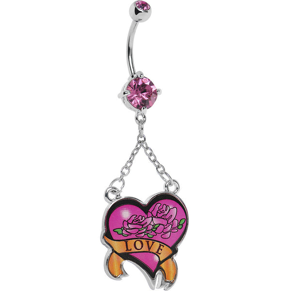 Pink Double Gem Love Rose Flower Heart Belly Ring