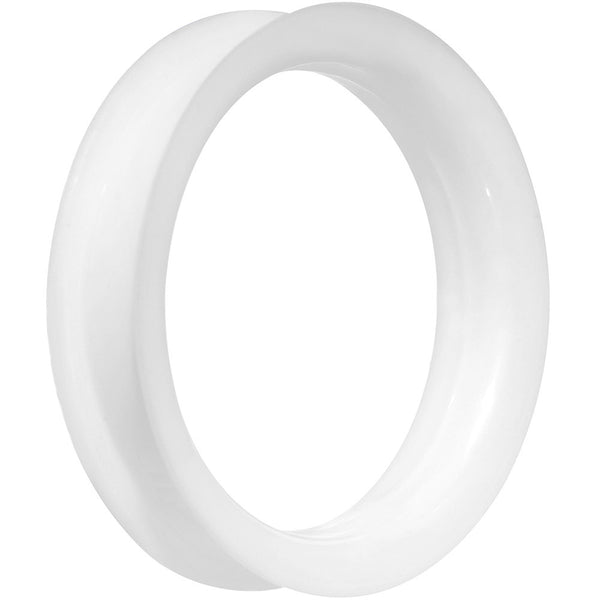 48mm White Ultra Soft Double Flat Flare Silicone Tunnel