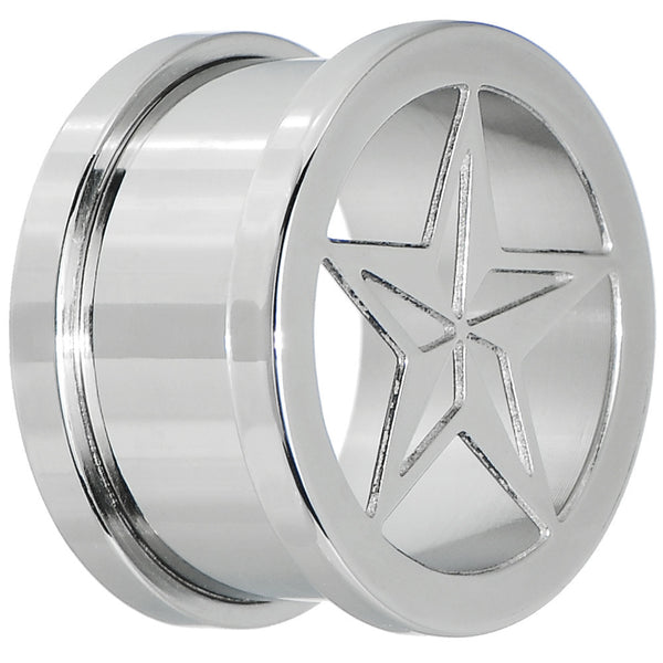 0 Gauge Surgical Steel Hollow Nautical Star Screw Fit Tunnel