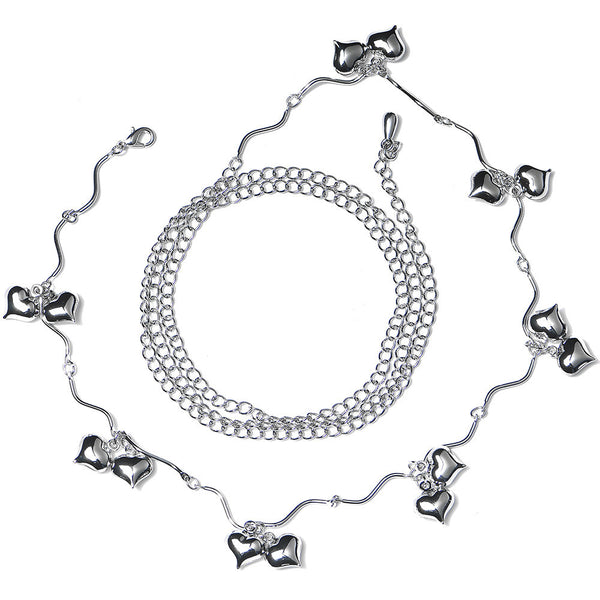 Stainless Steel Romantic Hearts Adjustable Belly Chain