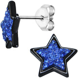 Blue Gem Sparkling Star Stud Earrings