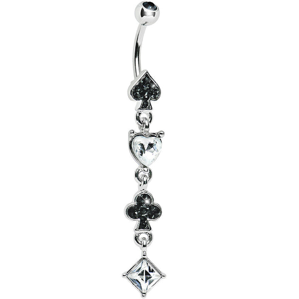 Crystalline Black Gem Playing Card Suits Belly Ring