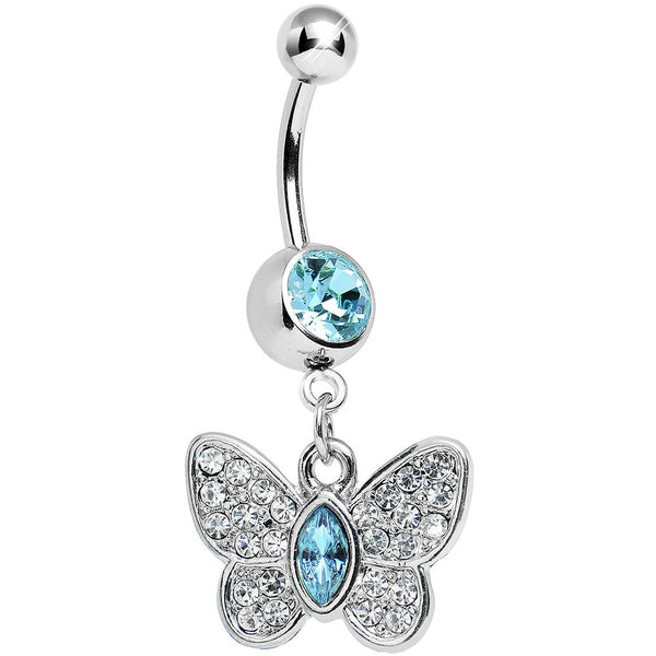 Aqua Gem Marquis Core Butterfly Belly Ring
