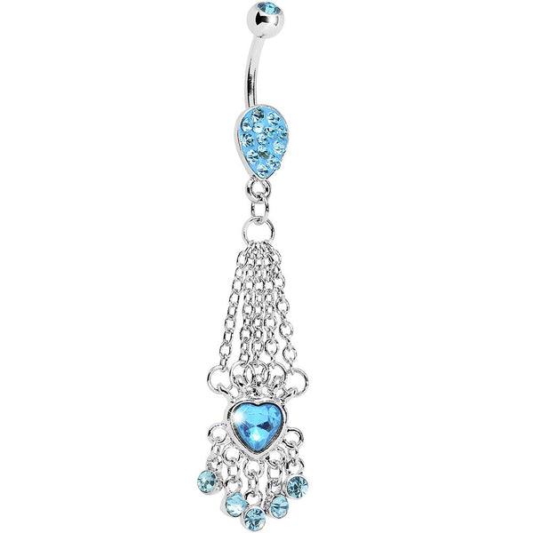 Aqua Gem Queen Heart Chain Dangle Belly Ring