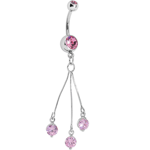 Double Pink Gem Three Gem Dangle Belly Ring