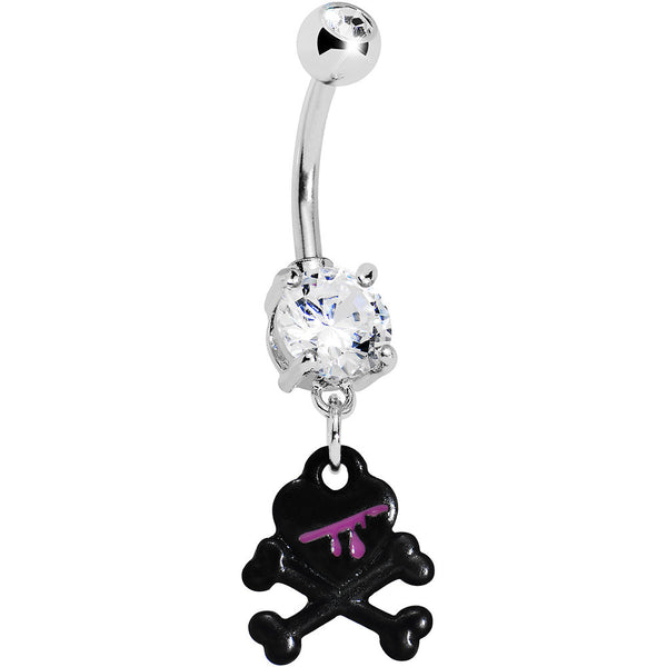 Crystalline Gem Black Skull and Crossbones Belly Ring