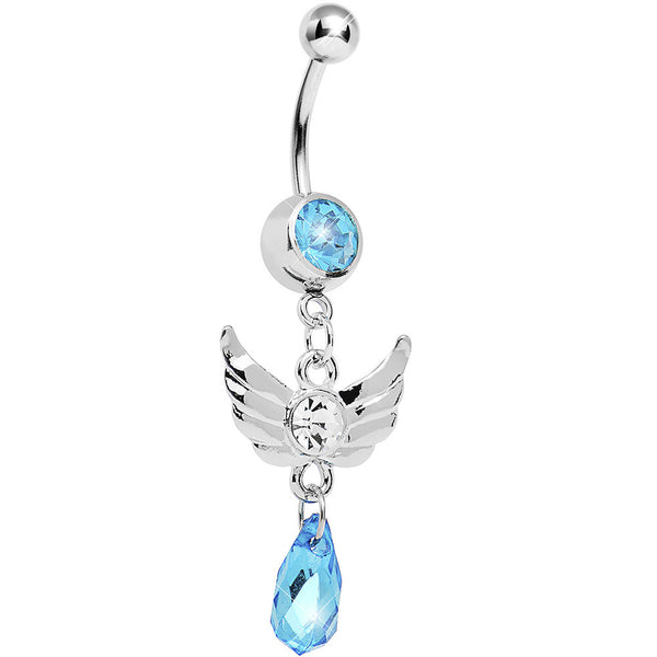 Aqua Gem Teardrop Angel Wing Dangle Belly Ring