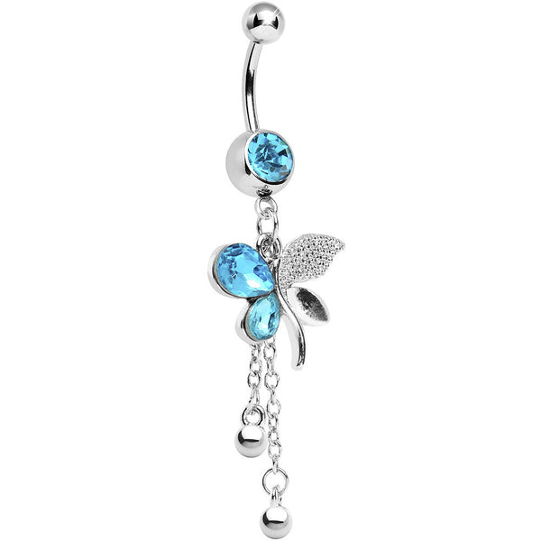 Aqua Gem Paved Wing Butterfly Chain Drop Belly Ring