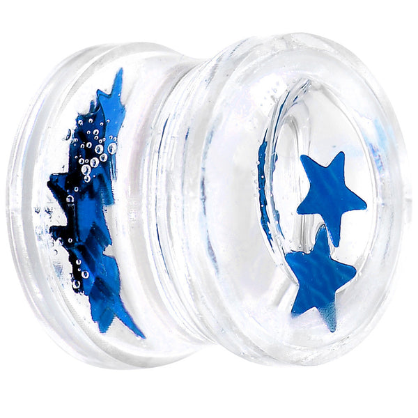 "1/2"" Acrylic Blue Floating Stars Saddle Plug"