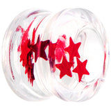 "9/16"" Acrylic Red Floating Stars Saddle Plug"